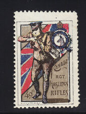 WWI CANADA 49th Regiment Hastings Rifles Label Poster Stamp MNH