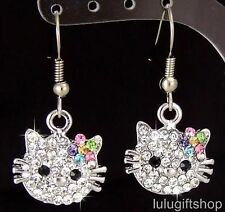 18K WHITE GOLD PLATED HELLOKITTY CAT GIRLS DANGLE EARRINGS USE SWAROVSKI CRYSTAL