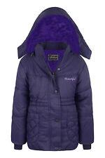 New Girls Coat School Padded Hooded Jacket Age 3 5 6 8 9 10 13 years Waterproof