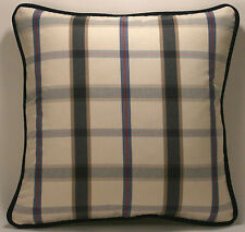 "2 18"" Navy Blue Cream Red and Light Blue Plaid Designer Throw Pillows"