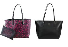 NWT Coach Reversible City Tote In Happy Bird Print Canvas Pink Ruby/Black F55862