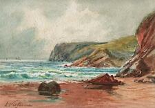 IMPRESSIONIST COASTLINE Watercolour Painting L VALLANCE c1890 SEASCAPE