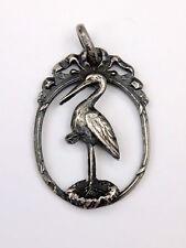 Très belle petite médaille de naissance cigogne  pendentif argent massif