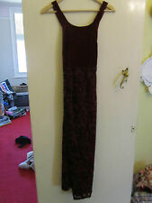 Vintage 90s Monix Wine Red with Floral Pattern Velvet Maxi Dress in Size 10