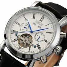 LUXURY JARAGAR SKELETON DIAL Calendar Automatic mechanical Leather Men's Watch