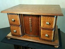 Large Antique Tiger Oak Sewing Knitting Box 4 Drawers and Key Country Farm Style