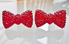 Small Sparkly Red Bow Crystal Diamante Diamond Stud Earrings