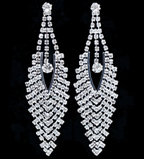 VTG STYLE CLEAR RHINESTONE BRIDAL WEDDING PROM DROP DANGLE CHANDELIER EARRINGS