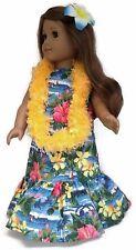 "Blue Hawaiian Dress, Lei, & Hair Clip made for 18"" American Girl Doll Clothes"