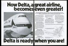 1972 Delta Airlines Boeing 747 plane photo vintage print ad