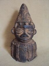 ANTIQUE BRONZE ROYAL BENIN KING BUST African Carving Statue!!