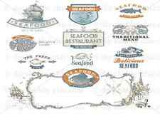 FURNITURE DECALS SEAFOOD FISH SHABBY CHIC FRENCH IMAGE TRANSFER VINTAGE LABELS