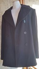 Men's Military Wool Black Peacoat w/ Anchor Buttons Size 40R