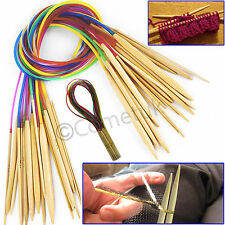 18 Pairs 60CM 80CM Smooth Bamboo Circular Knitting Needles Pins Set 2.0mm-10mm