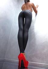 Unique Schwarz Stretch Glanz Perfect Sexy Fit Damen Pants I81 Hose Leggings XL