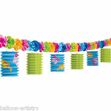 10ft Tropical Paper Lantern Flower Garland Hawaiian Luau Party Decoration