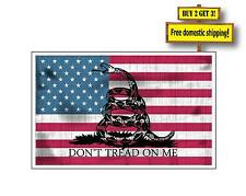 Molon Labe Gadsden Aged USA American Flag Don't Tread on Me Sticker Decal GN31
