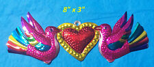"""Heart & Birds Mexican Handmade Painted Tin Milagro Art 8""""x3"""" Pink Red Corazon"""