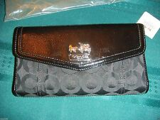 NWT Coach Madison OP Art Sateen Checkbook Leather Wallet SV/BLACK 45935
