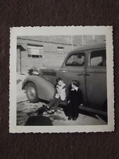 TWO YOUNG BOYS SITTING ON RUNNING BOARD OF CAR Vtg PHOTO