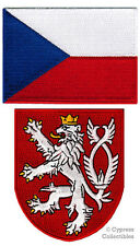 LOT of 2 CZECH FLAG PATCH EMBROIDERED IRON-ON RAMPANT LION COAT of ARMS SHIELD
