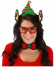 Adult Pixel-8 8-Bit Holiday Pixel Elf Hat Glasses Bow Tie Costume Accessory Kit