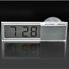 1pc Auto Car Clock Digital LCD Display Suction Cup Mini Dashboard Windshield UK