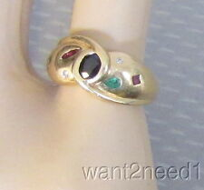 70s estate vtg mod 14K GEMSTONE RING sz 5 yellow gold emerald sapphire ruby diam