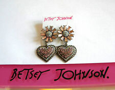 NEW Betsey Johnson Holiday Party Flower Heart Drop Earrings B10806-E01