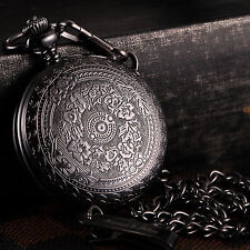 KS Antique Black Case Men's Pendant FOB Quartz Vintage Pocket Watch Chain Box