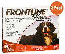 Frontline Plus Red  For Dogs 89-132 Pounds 3 Pack Free Shipping