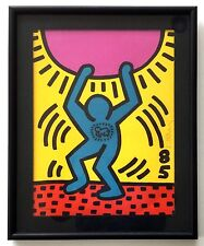 KEITH HARING Signed Lithograph With ORIGINAL DRAWING International Youth Year
