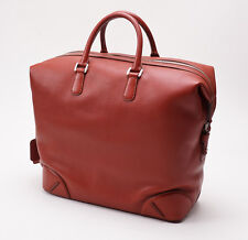 NWT $5975 BRIONI Chili Orange-Red Leather Large Carry-On Overnight Tote Bag