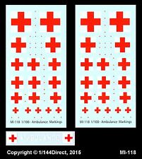 1/100 FOW 1/144 1/200 1/300 Decals MI-118 Military Ambulance Markings Red Cross