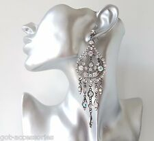 Gorgeous! big & glam hematite & AB diamante fancy chandelier style drop earrings