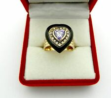 HEART Shape 14k Yellow Gold Natural Amethyst Onyx Diamond Ladies ring size 5.5