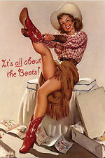"Blank Note Card - Vintage Cowgir! ""ALL ABOUT THE BOOTS"""