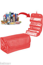 Red-Maroon Portable Roll N Go Travel Buddy Cosmetic Bag Snap-Shut Flap &Hangtag