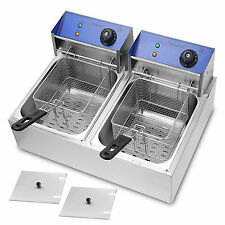 Electric 2X10L Stainless Steel Commercial Deep Fryer Twin Double Fat Chip Basket