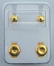 STERILE 24ct Gold Plated STAR Stud EARRINGS sold in pairs