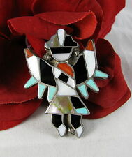 Sterling Silver Inlaid Zuni Knifewing Man Old Pawn   Pin  Brooch CAT RESCUE