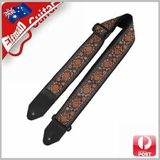 Guitar Strap Nylon Webbing Genuine Leather Acoustic Electric Bass Pattern orange