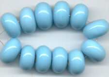 12 Lampwork Glass Beads Handmade Opaque Aqua Rondelle Loose Jewelry Craft Spacer