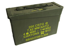 Original US Army .30 Cal AMMO STORAGE CAN - Surplus Army Ammunition Tool Box Tin