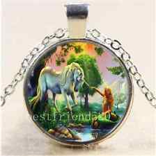 Mermaid and Unicorn Cabochon Glass Tibet Silver Chain Pendant  Necklace#F87