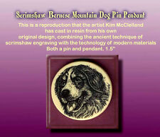 Bernese Mountain Dog Scrimshaw Art Pendant and Pin