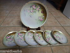 ANTIQUE LIMOGES FRANCE HAND PAINTED PORCELAIN  7 PC  DESSERT, CAKE  SET, FLOWERS