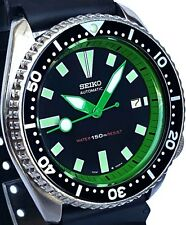 Vintage mens watch SEIKO diver 7002 mod w/all Green DAGGER hands & Chapter Ring!