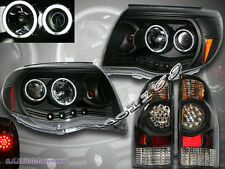 2005-2008 TOYOTA TACOMA DUAL CCFL PROJECTOR HEADLIGHTS BLK + LED TAIL LIGHTS BLK