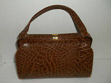 Vintage~DAYTON'S~Made in England~BROWN Croc EMBOSSED PURSE~Handbag~GOLD CLASP